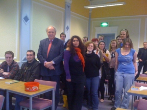students with Alexander McCall Smith