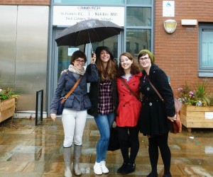 Barbara, Kirsty, Daiden and Christy, still pleased by task completion (and by Barbara's umbrella).