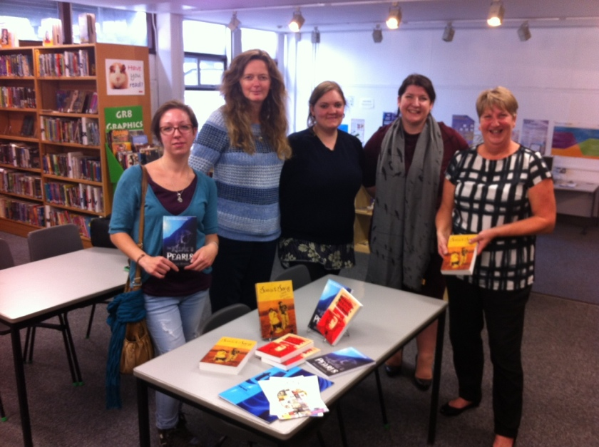 From left to right: Msc Publishing students Alessia De Gaspari, Susan Kemp, Rhiannon Tate and Keigh-Lee Paroz with Wester Hailes Education Centre Librarian, Anne Brownlee. Anne is holding her favourite title, Sunset Song. She was very pleased to see this Scottish classic revived in such a beautiful way.