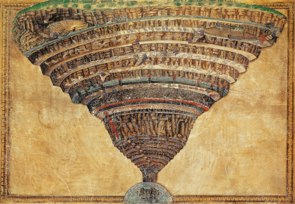 Sandro Botticell, Illustration of Canto I of Hell, Vatican Apostolic Library. Here we can see the famous Map of Hell as imagined by Botticelli.